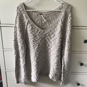 Free People grey boucle v-neck sweater